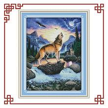 NKF Howling wolf cross stitch work of art