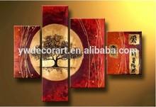 Handmade multiple panels tree landscape oil painting for wall decor