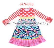 Yawoo Children Girls Long Frocks Designs Floral Ruffle Dress Long Sleeve Stripe Polka Dot Cheap Girls Puffy Dresses For Kids