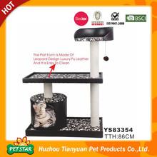 High Quality Professional Wholesale Leopard Design Luxury PU Leather Platform Wooden Cat House