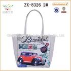 2015 New design cotton jute bag with digital printing car