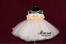 Bling pink children dresses 2015 baby dress flower back bow design organza baby girl evening dresses