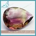 Vente en gros de grande taille poire cut multi- couleur facettes pierres décoratives en verre pour les bijoux