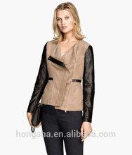 OEM China Supplier 2015 Spring Women Imitation Leather Fitted Biker Jacket HSJ8307