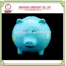 Custom light blue piggy bank money box with music IC sound module Eco-friendly epoxy resin money saving pot with Music IC