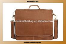 100% Top Grain Vintage Cowhide Business Men Genuine Leather Laptop Business Bag