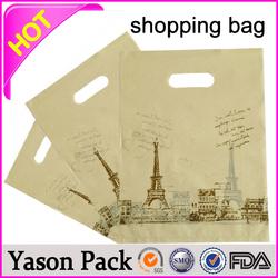 Yason pe die cut handle shopping bag shopping patch handle bags decorative reusable shopping bag