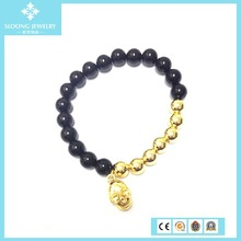 2015 Black Beads Gold Plated North Skull Bracelet Chinese