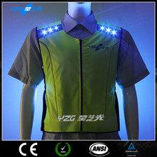 dongguan hi vis green led flashing reflective led safety custom cycling clothing
