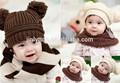 ingrosso pianura maglia sciarpa cappello set per neonati
