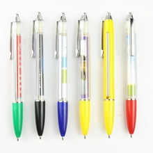 click action ballpoint pen plastic with pull out paper
