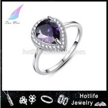 fancy cutting purple trending fashion cz ring