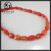 Orange flat oval glass beads jade beads wholesale