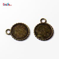 Beadsnice ID 23643 blank pendant Photo Pendant DIY Antique Brass Round Pendant Trays Inside diameter 18mm metal charms