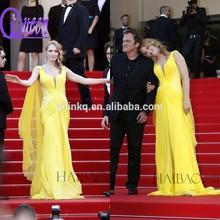 Formal Cap Sleeve V-neck Pleat Chiffon Yellow Long Chiffon Evening Dress With Tassel For Celebrity 2015