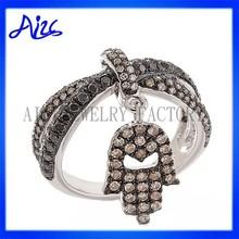 Popular Silver Rhinestone Hand Ring Women