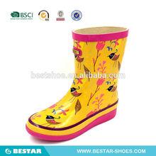 golden pictures rubber cheap rain boots for girls. colourful birds print kids rain boots