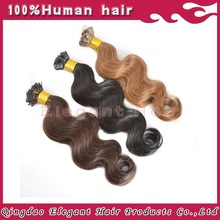 Double Drawn Wholesale 24 inch body weave/ natural straight virgin white/ blonde/black Remy Karetin Flat Tip Hair Extension
