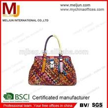 Multi color pu weave women handbags make in China