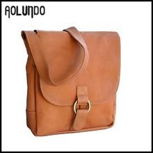 Light Brown Leather Men Cross Laptop Bag