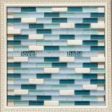 Blue glass mix white stone mosaic backsplash tile