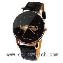Black color cute mustache face new custom wrist watch