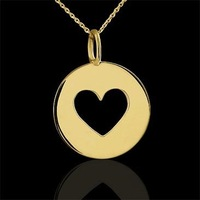 14K Yellow Gold or brass Heart Disc Charm Pendant