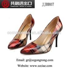 new model latest design elegant sexy european style grid printing pointed-toe high heel lady fashion shoe
