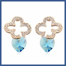 Global Popular Trendy Huggie luxury south american jewelry Heart shaped blue diamond jhumka earrings