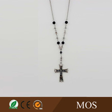 Cross pendant necklace with black and white beads chain