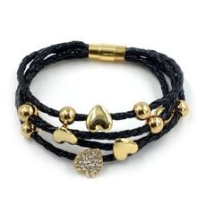 PU rope magnet 22k gold bracelet