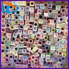 2015 Cheap Mixed Color 6*6MM 3570Pcs Big Hole Cube Plastic Alphabet Letter Acrylic Beads