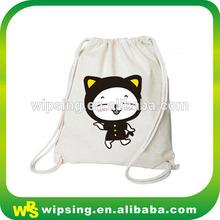 Custom logo printed organic cotton drawstring shoulder bag