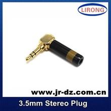 Good Quality 3.5mm nickel plated Verbatim 90 degree Male stereo Jack
