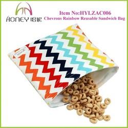 2015 New Arrivel Chevron Rainbow Reusable Sandwich Food Packaging Bag