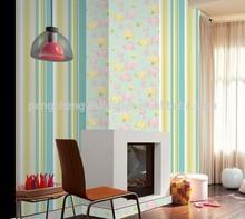 economic green stripes design washable interior decor wallpaper