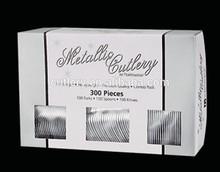 300pcs event plastic cultery set disposable plastic family dinnerware sets