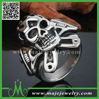 Cool 316 stainless steel skull crossbones biker rings