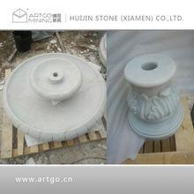 white marble fountain, stone garden
