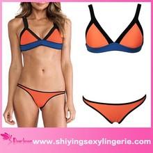trimmed triangle orange attractive girl bikini triangle