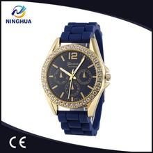Geneva brand silicone strap diamond watches for men