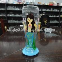 LYJ151 beautiful mermaid printing grace glassware tall machine blow new product 640ml beer glasses with hand printing