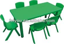 China Feiyou Amusement Factory School using moon shape table kids LLDPE plastic desk and chair, kindergarten furniture
