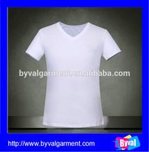 ขายส่งที่มีคุณภาพสูงที่กำหนดเองคอวีสีขาวผ้าฝ้าย100%เสื้อสำหรับผู้ชาย