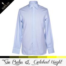 2013 newest model export import indonesia long sleeve striped ligh blue shirt jacket uniform
