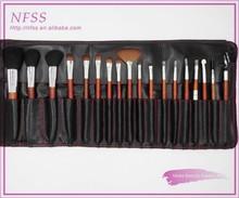 New design 2015 wood handle high quality make up brush 18pcs wood cosmetic brush aluminum ferruel makeup brush set free sample