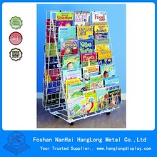 metal wire grid bookstore display shelves HLSR002
