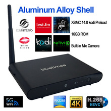Aluminum alloy shell Rk3288 quad core android tv box H265 4K 5Ghz wifi with built-in Camera XBMC fully load tv box