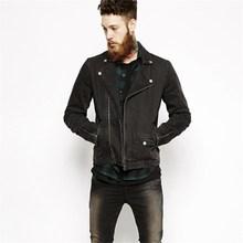 Biker mens black denim jacket
