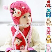 MZ2256 Christmas God Moluccas velvet ear knitted hat 6-36M